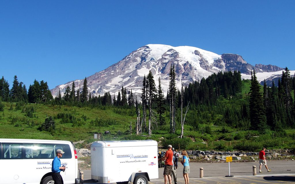 IMG team getting ready to climb Mt. Rainier