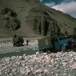 Trucks crossing the river near Rongbuk 1982 (Eric Simonson)