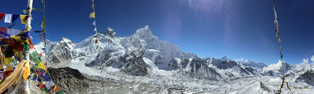 The views of Everest & the Khumbu Glacier are breathtakingfrom the summit of Kala Pattar. (Tye Chapman)