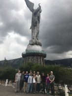 Team at the Monument to the Virgin of Quito