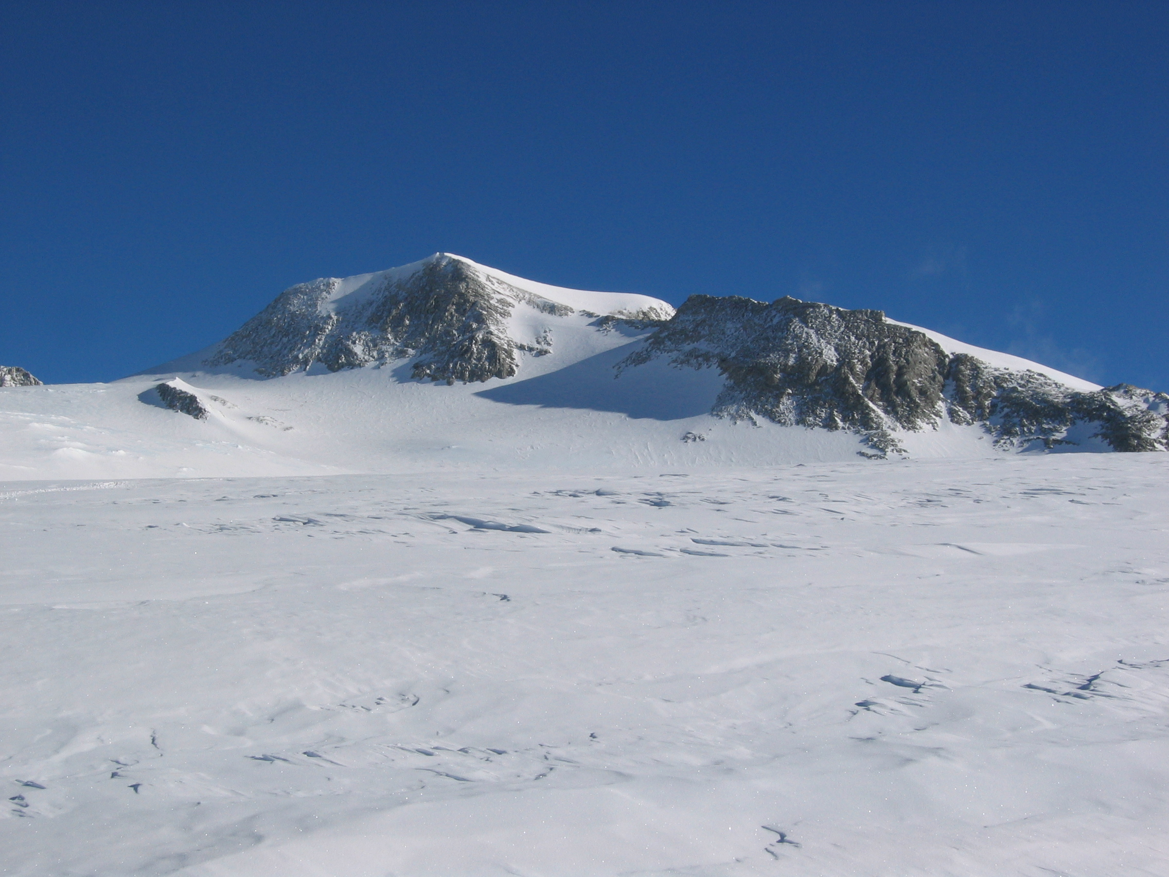 Looking up towards the summit of Vinson