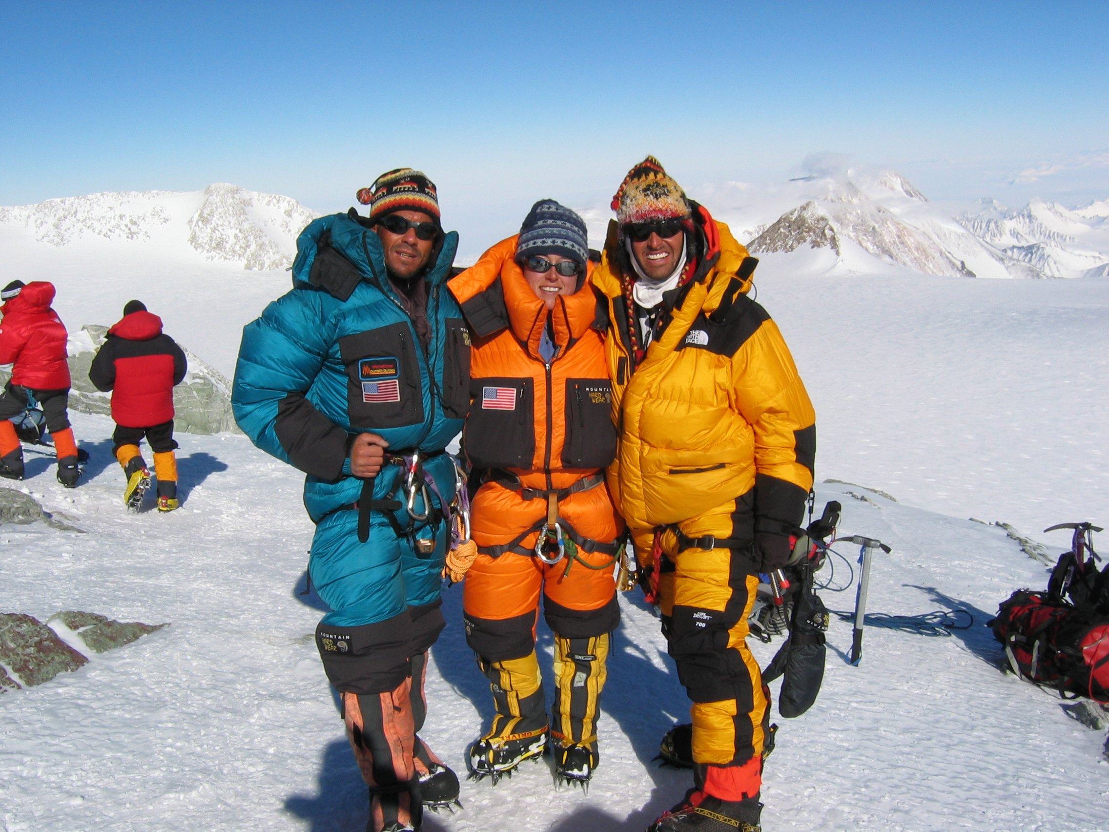 Three old guides on the summit of Vinson (prior expedition)
