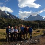 The team yesterday morning before they left Refugio Paine Grande. Not a bad view there! (Photo Tadeo Sotomayor)