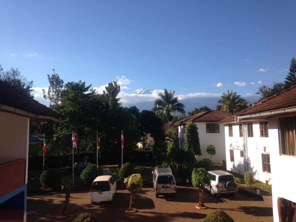 Kilimanjaro in the distance from our hotel in Moshi (Dustin Balderach)