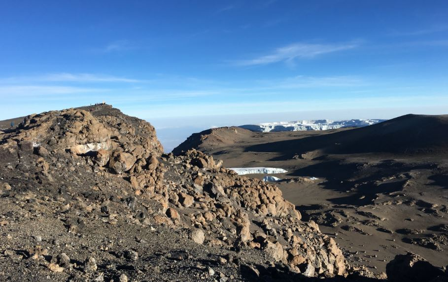 Kili summit and crater rim. (Dustin Balderach)