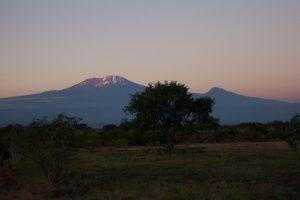 Sunset on Kilimanjaro and Mawenzi from near the JRO airport (Eric Simonson)