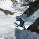 Matt Z. climbing Odell's Gully. (Photo by Craig John)