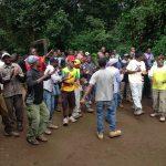 Chagga staff celebratory song at Mweka Gate (Dustin Balderach)