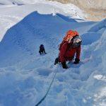 Climbing Steeper Terrain on Ishinca (Maximo Henostroza)