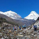 Mera Peak Team Trekking below Khote (Phinjo)