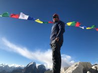IMG Guide Austin Shannon at C1 taking a look at Ama Dablam. (Phunuru Sherpa)