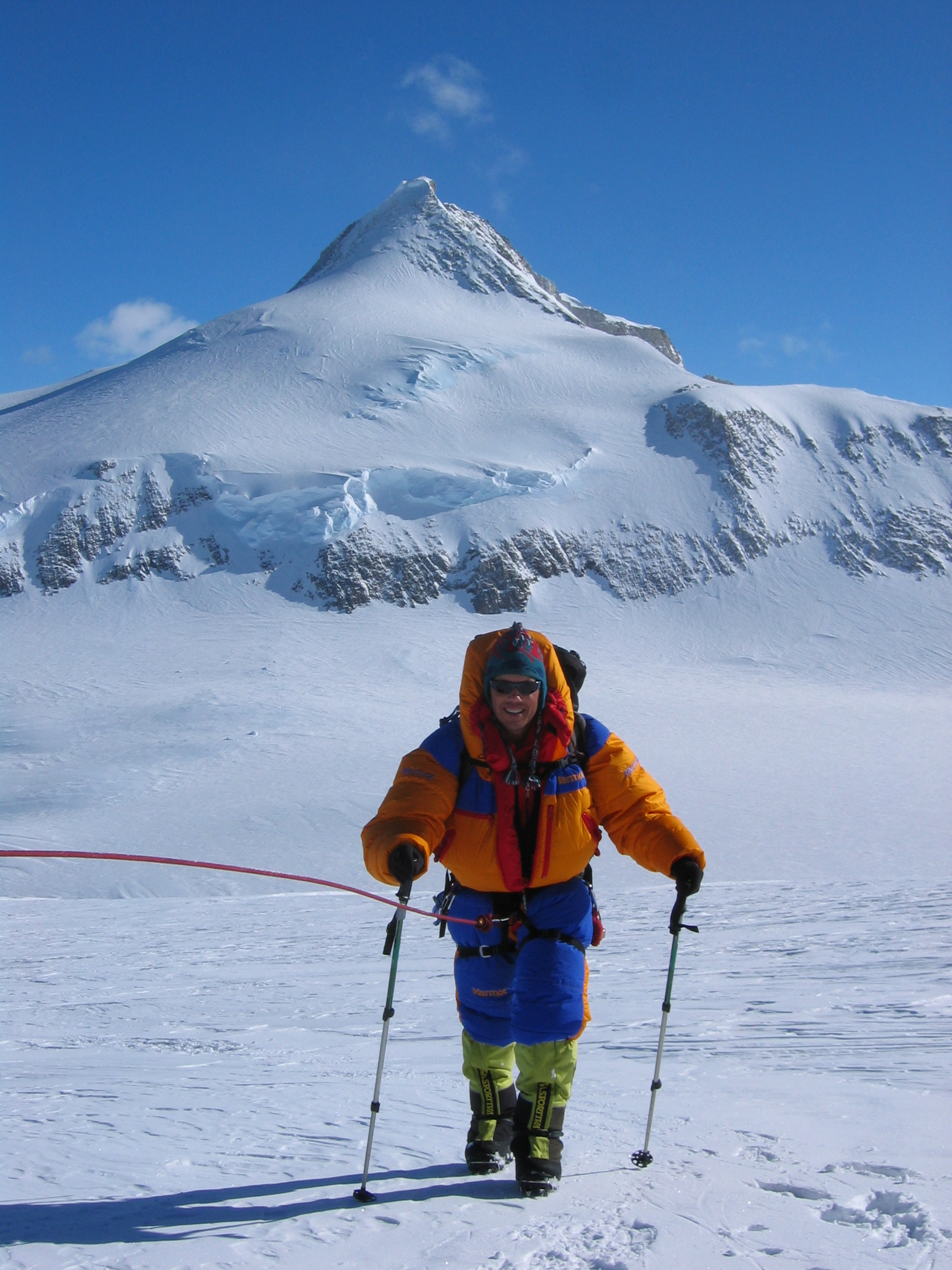 Approaching high camp with Shinn in the background (from previous expedition)