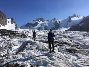 Negotiating the bergschrund (Anna Hicks)