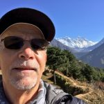 Rick on the way to Thame with Everest, Lhotse and Ama Dablam (Rick Davidson)