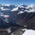 Looking down the Khumbu Valley with Pangboche,_Tengboche and Phortse around the corner (Phunuru Sherpa)