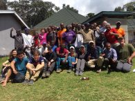 The whole team back at the Mweka Gate Trailhead with their Chagga porters and guides (Phunuru Sherpa)