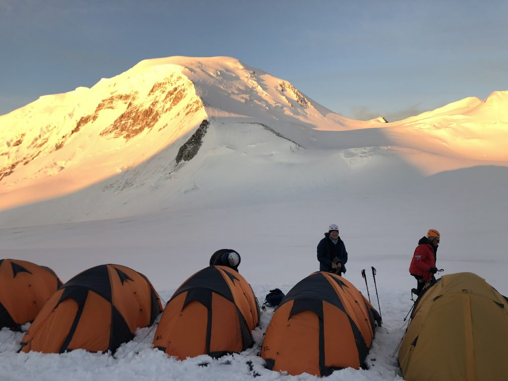High Camp with Mount Khuiten in the background (Ang Jangbu Sherpa)