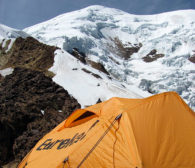 Looking up at Illimani from High Camp (Greg Vernovage)