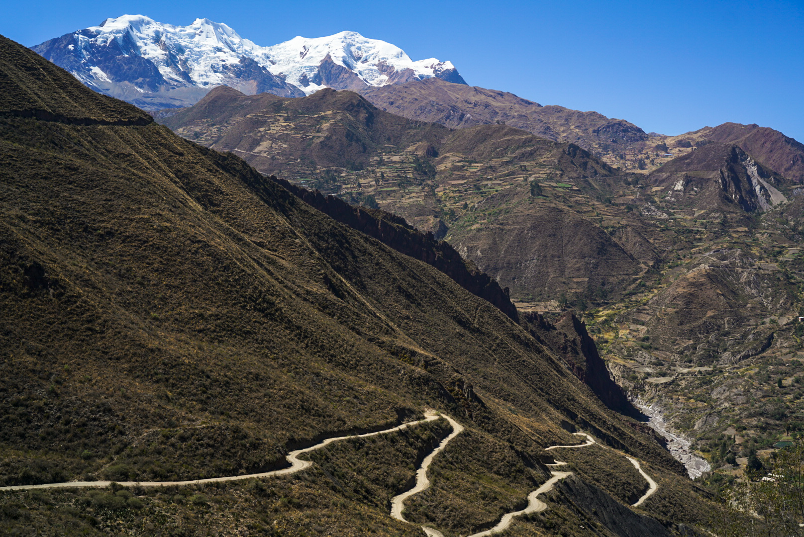 Road to Illimani with the mountain in the distance (Harry Hamlin)
