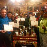 2019 Cho Oyu Team receiving their Summit Certificate (Phunuru Sherpa)
