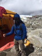Cho Oyu climber practicing with the oxygen system (Phunuru Sherpa)