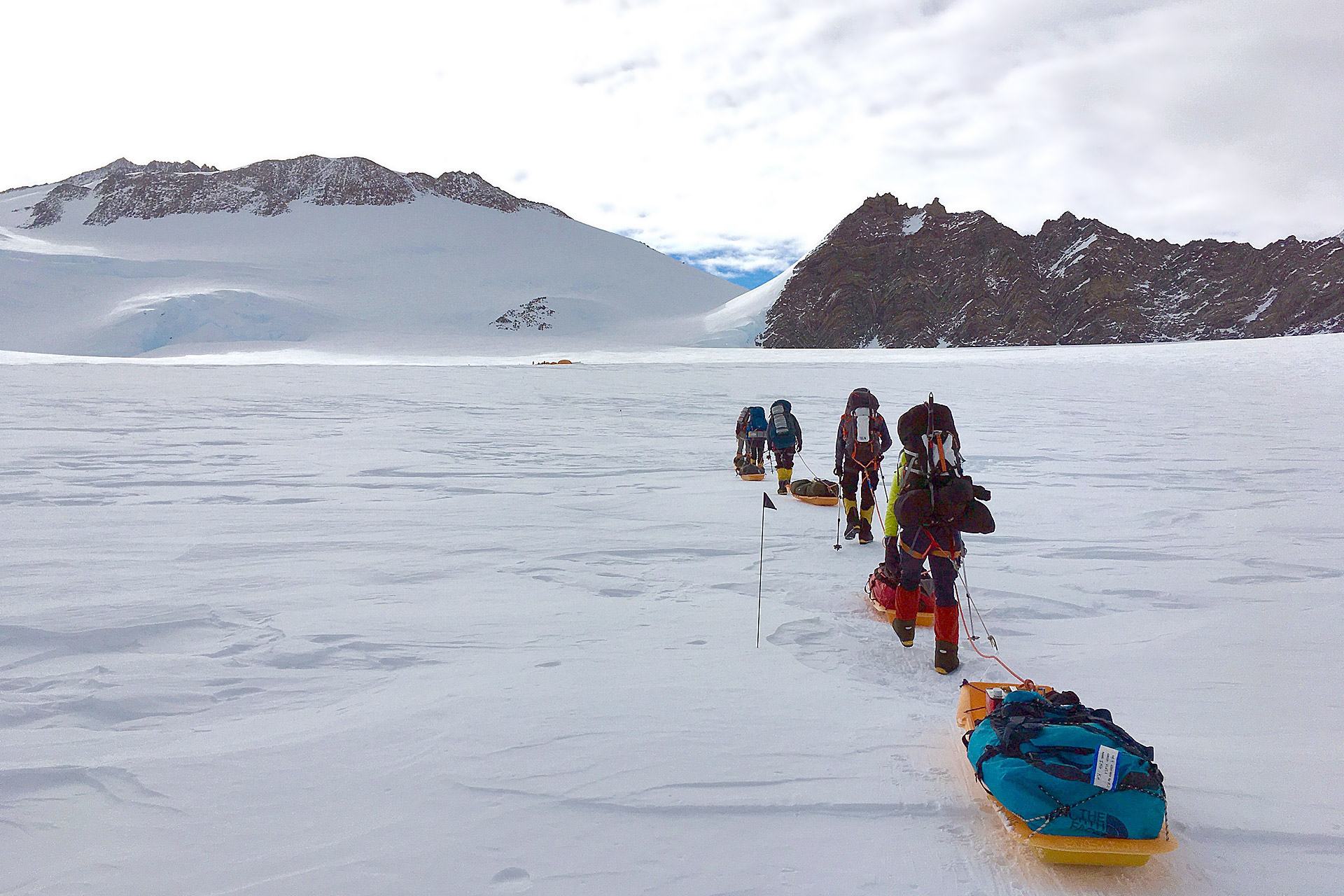 Dragging sleds on Vinson (Emily Johnston)