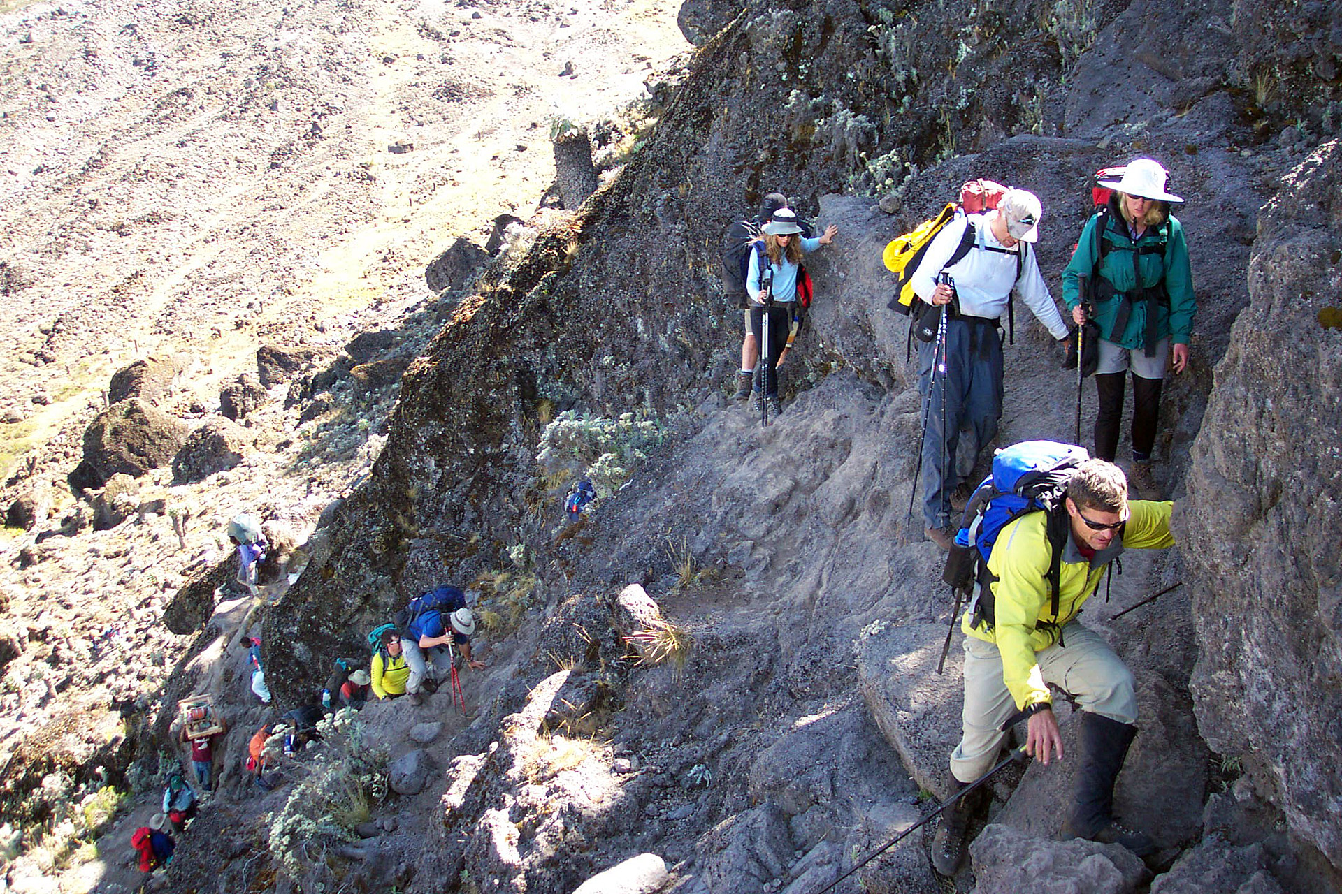 The steep spot on the ascent of the Barranco Wall (Eric Simonson)