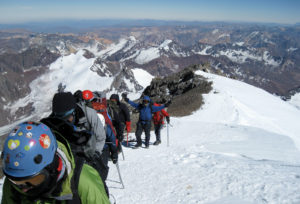 IMG climbers approach the summit of Aconcagua (Ben Kurdt)