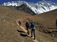 Heading up Chukhung Ri with Nuptse and Lhotse behind (Eric Simonson)
