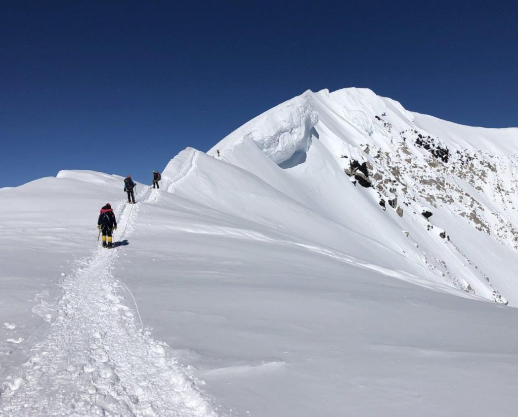 The last few steps to the summit of Denali in 2019 (Eric Simonson)