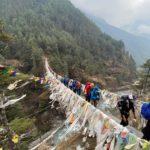 Crossing the Suspension Bridge to Namche (Jonathan Schrock)