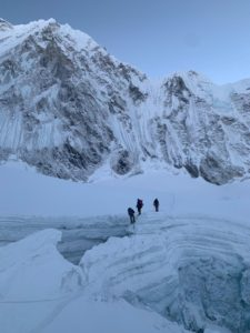 Climbers descending from top of Icefall (Kevin Kayl)