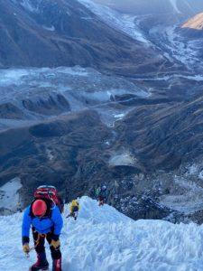 Climbers nearing the summit of Lobuche (Phunuru Sherpa)