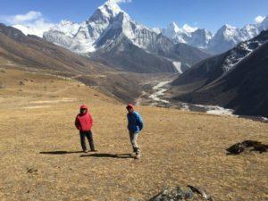 Sonam and Phunuru looking down the valley towards Pheriche_and Ama Dablam (Eric Simonson)