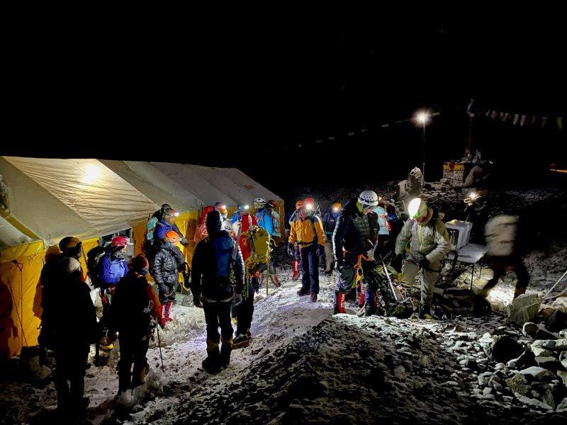 Team 1 Preparing to depart EBC (Ang Jangbu Sherpa)