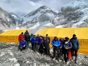 Team 1 arrives at EBC (Ang Jangbu Sherpa)