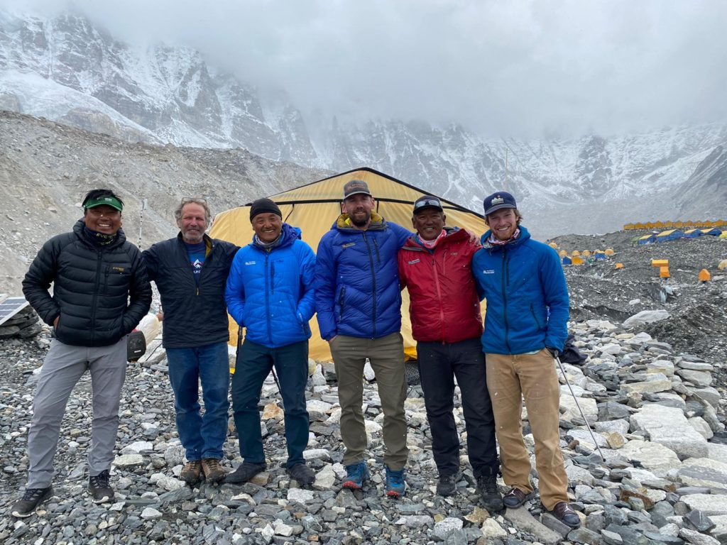 2021 Everest Guide Team from left to right-Phunuru Sherpa,_Andy Politz, Ang Jangbu Sherpa, Jonathan Schrock,_Ang Dorjee Sherpa, Kevin Kayl
