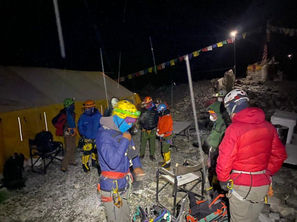 Climbers preparing to depart EBC (Ang Jangbu Sherpa)
