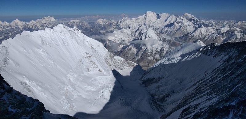 From high on Lhotse looking down the Western Cwm with Shishapangma and Cho Oyu (Thunang Lomi Sherpa)