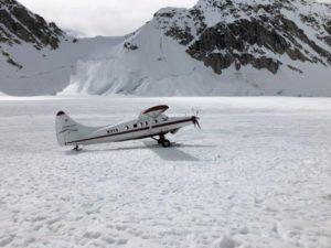 Landing at Kahiltna Base Camp (Eric Simonson)