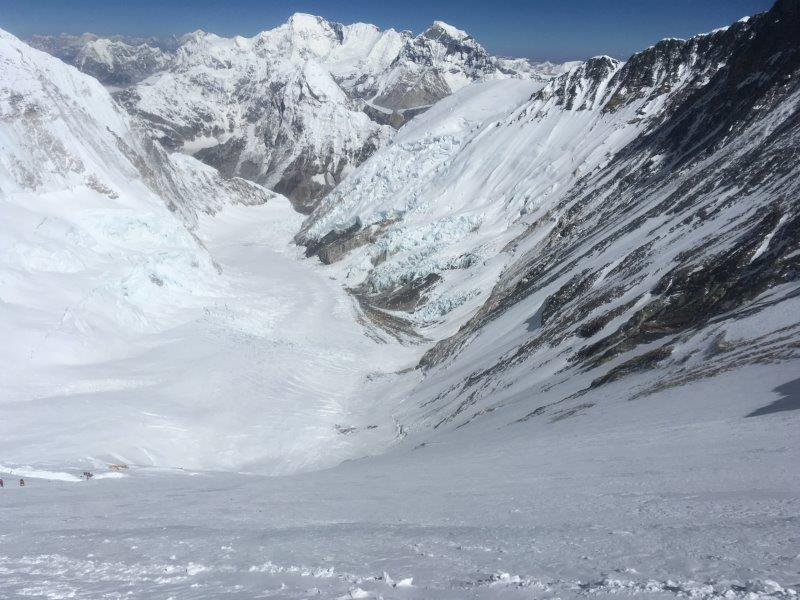 Looking down at Camp 3 from high on the Lhotse Face (Phunuru Sherpa)
