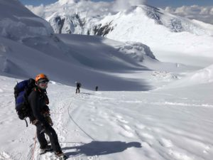 Looking down at the 11 Camp with Mt Foraker behind (Eric Simonson)