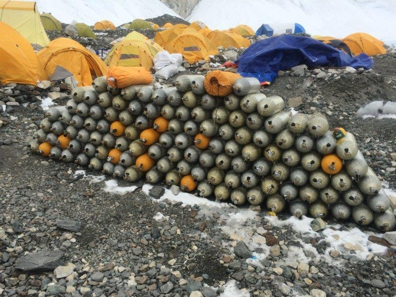Oxygen Cylinders at Camp 2 (Harry Hamlin)
