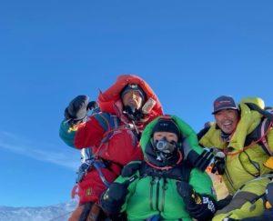 Tenzing Dorjee Sherpa (Father),_Sonam Tashi Sherpa (Son) and Pasang Kanchi Sherpa (Daughter) on Everest summit (Phunuru Sherpa)