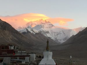 The north side of Everest at sunset from Rongbuk monastery in Tibet (Eric Simonson)