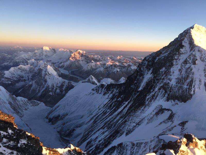View from the Lhotse Couloir with Everest, Cho Oyu and Shishapangma (Phunuru Sherpa)