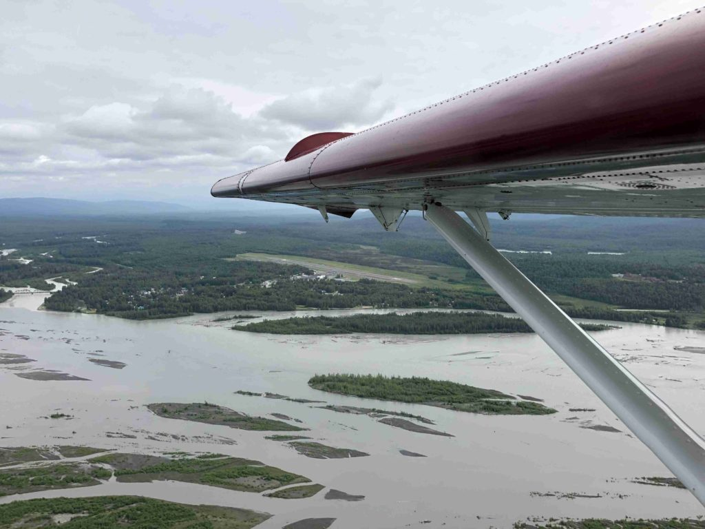 Talkeetna on the bank of the Susitna River with the Talkeetna River joining on the left (Eric Simonson)